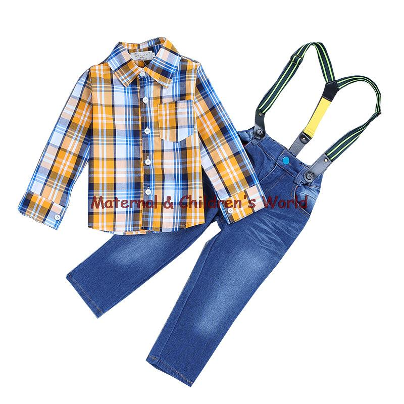Children s Clothing Sets For Spring Autumn Baby Boy Suit Long Sleeve Plaid Shirts Jeans Wite