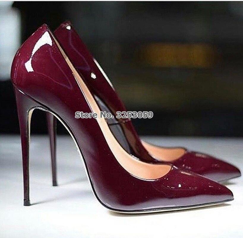 ALMUDENA européenne Sexy bordeaux miroir chaussures en cuir mince talon haut vin rouge bout pointu pompes Chic chaussures de mariage Drophip