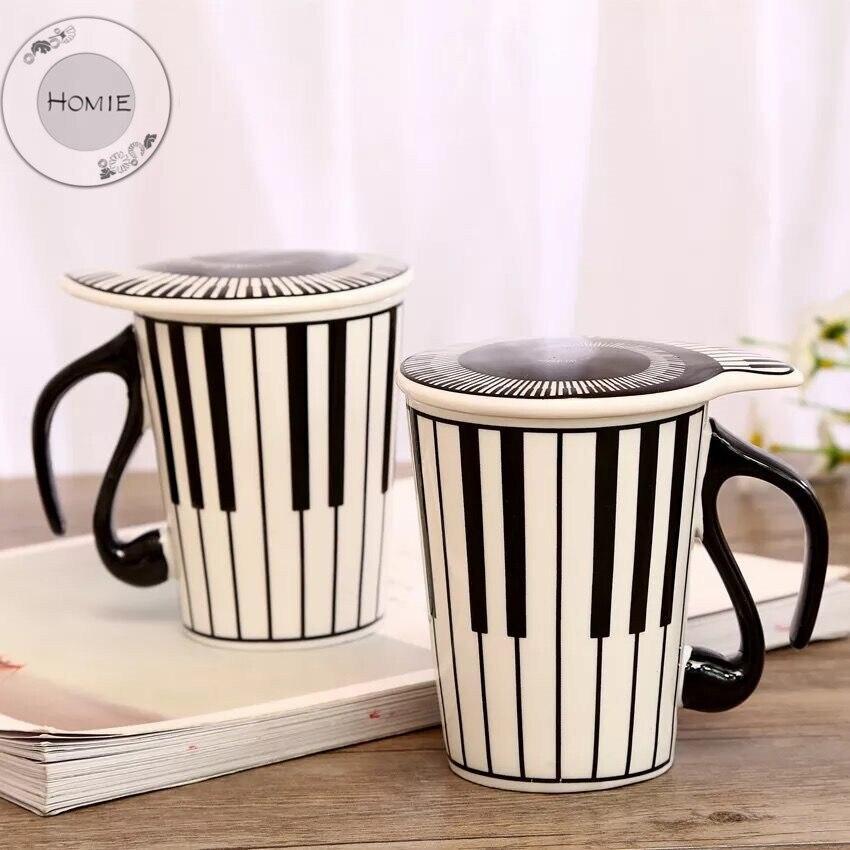 HOMIE Cute Simple piano music Ceramic Coffee Mug Large 300ml Animal Mugs creative Drinkware Tea milk Cups Novelty Newlywed couple09