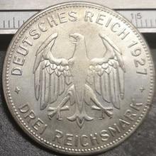 1927 Германия-1871-1948 3 рейхсмартк тубинген Университет Посеребренная копия монеты