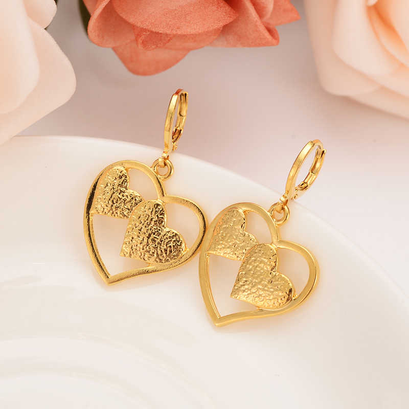 love heart  drop earring Ethiopian/Nigeria/Kenya /Ghana  Gold color Dubai african Arab Middle Eastern Jewelry Mom Gifts