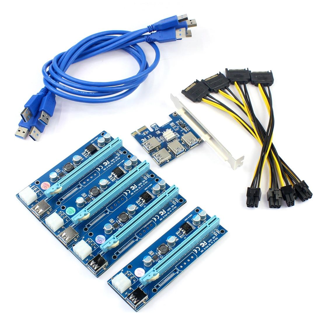 Usb 3.0 pci-e express 1x para 16x extensor riser cartão adaptador pcie 1 a 4 usb conversor placa de vídeo gráfica para mineiro litcoin btc