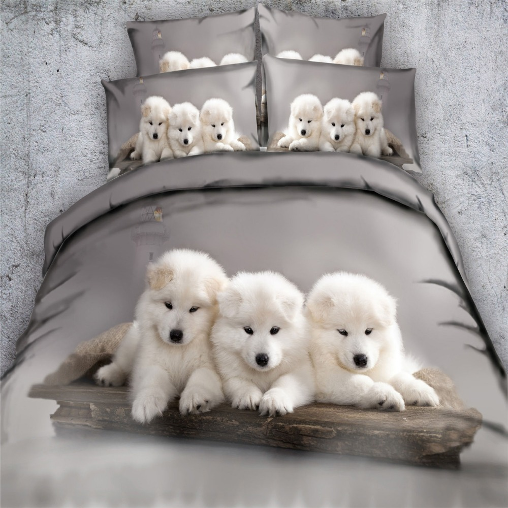 3d Grey White Pet Dog Husky Bedding Sets 3 4pc Bedspreads