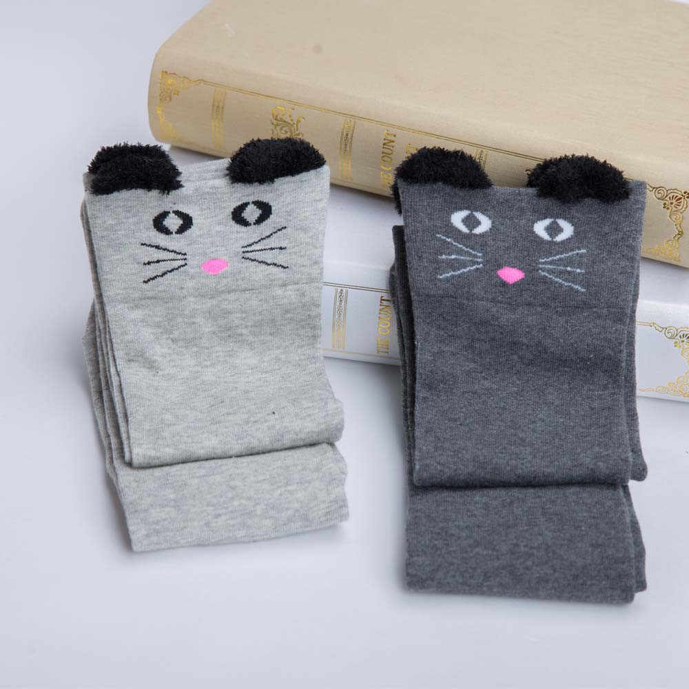 Kawaii Cat Ear Stockings Winter Warm Lace Cotton Long Socks Women Knee High Thigh Knitted Stocking Harajuku Over Knee Sock Media