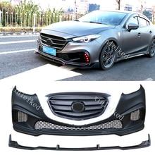 Неокрашенный передний бампер и решетка протектор конверсионный обвес для Mazda 3 Axela sedan- аксессуары для стайлинга автомобилей