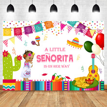 Mexican Fiesta Baby Shower Photography Background Taco Bout Little Girl Backdrops Party Banner Supplies