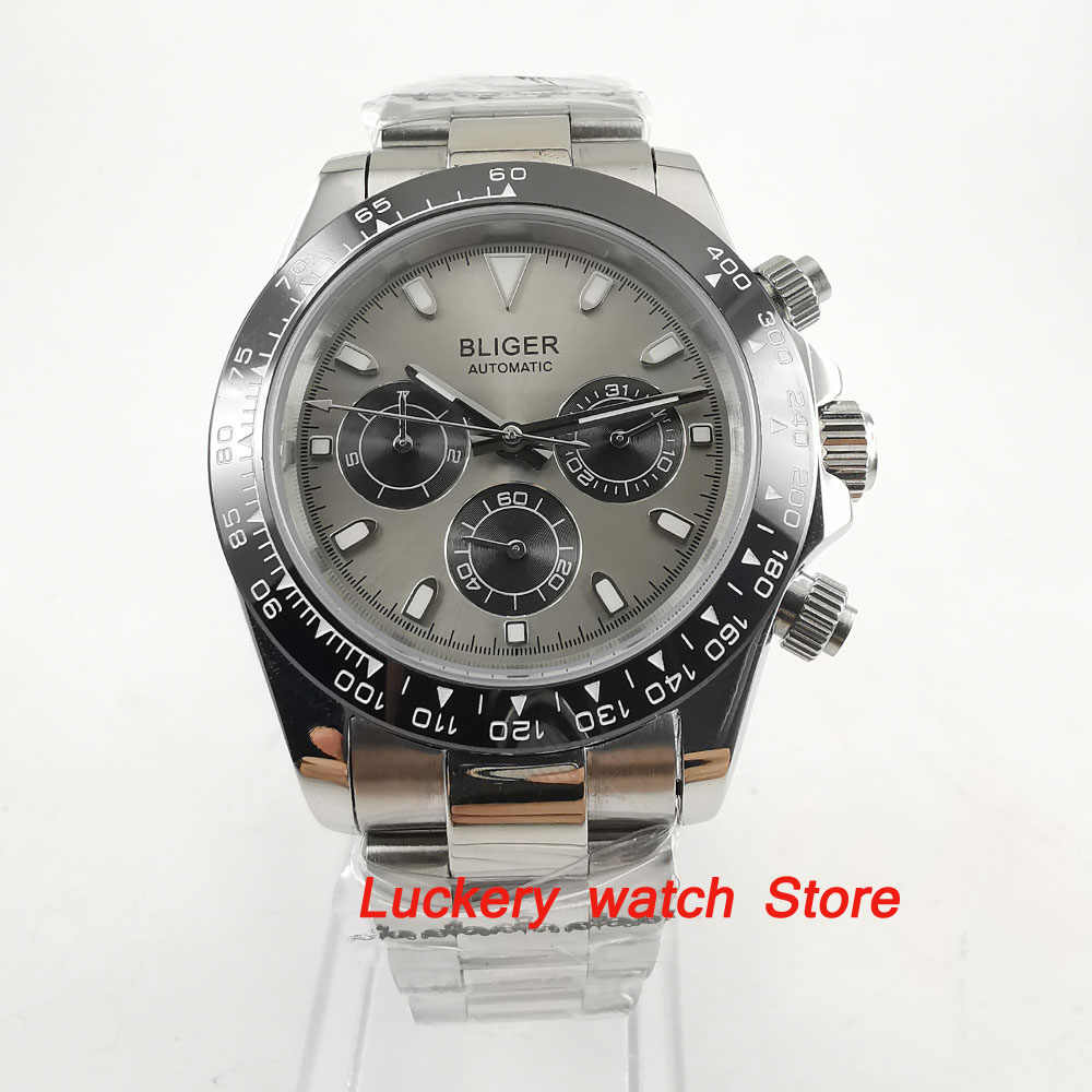 39mm bliger watch gray dial Multifunction week date  Automatic movement men watch-BA119