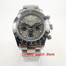 Многофункциональные часы bliger 39 мм с серым циферблатом и датой недели, автоматическое движение, мужские watch BA119