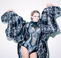 Women sexy party one piece bodysuit bat jacket clothing set female singer DJ DS dance stage costume outfit show dancer dress