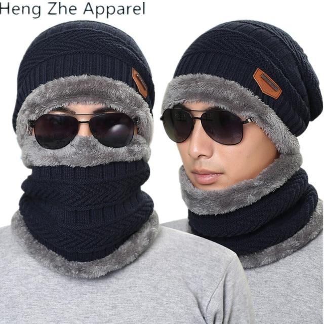 27ba81fcd95 2018 new autumn winter knit plush thick warm men women beanie+scarf sets  boys girls wear cap collars adult accessories hats