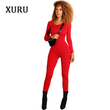 XURU elegant jumpsuit female autumn and winter sexy tight bodysuit pants womens casual new
