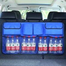 Oxford 600D Car Trunk Organizer Water Bottle Storage Bag Mesh Nets Universal Size Back Seat Hanging Pockets Cartoon Travel Bags