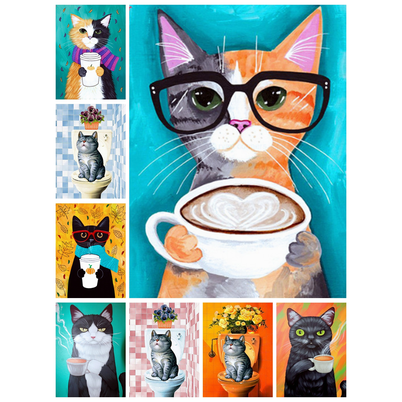 Aniaml,Full,Diamond Painting,Cartoon,Cat,Diamond Embroidery,Cross Stitch,5D,Wall,Round,Rhinestone,Mosaic,Kits,DIY,Home Decor,Art