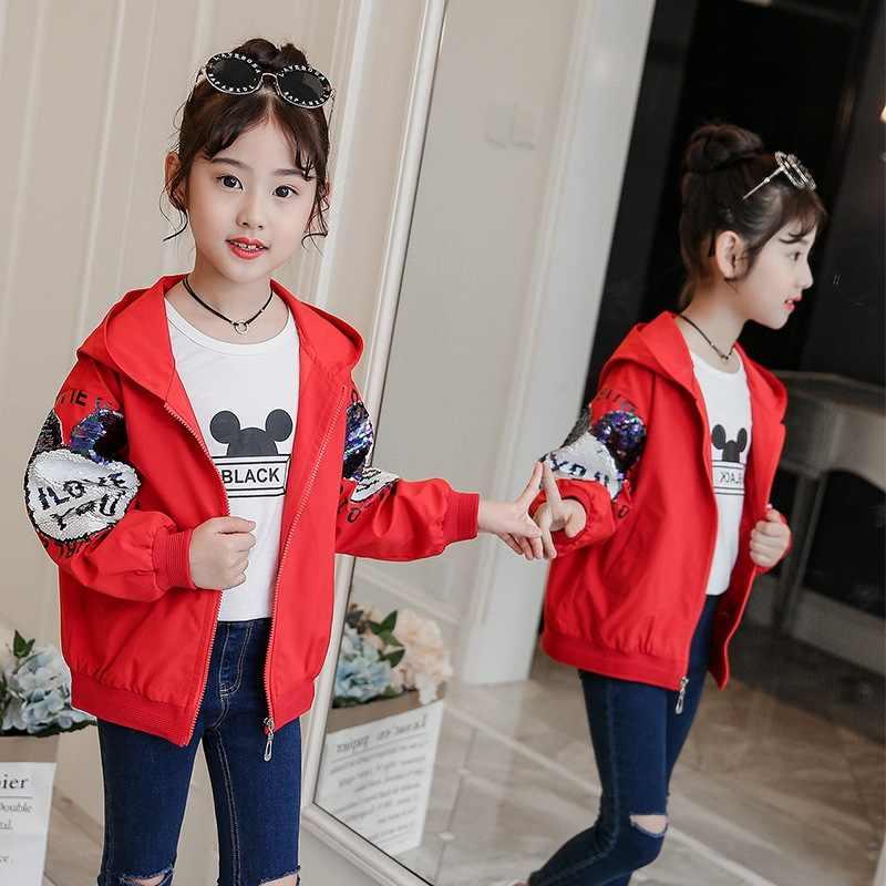 Новый Демисезонный с Микки-Маусом для девочек куртка-штормовка для девочек 2019 для малышей и детей постарше с блестками верхняя одежда с капюшоном для малышей и детей постарше Повседневный пиджак, куртка Костюмы