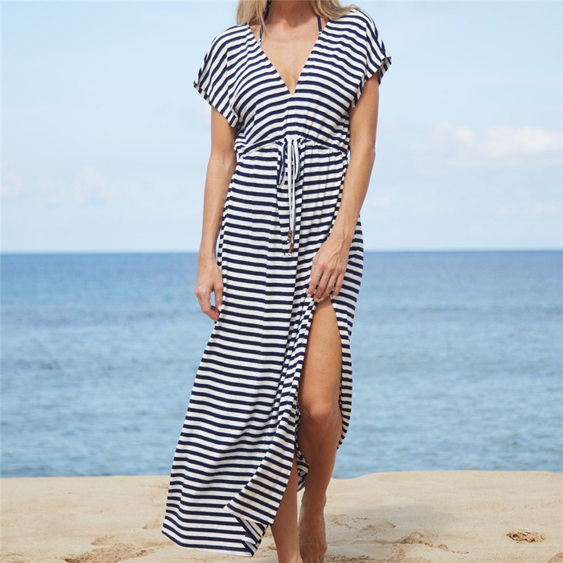 470e1bbf8c99d Aliexpress.com : Buy Striped Swimsuit cover up Beach Tunic Sarong Robe de  Plage Beachwear kaftans long Beach Dress Womens Swim Wear #Q486 from  Reliable ...