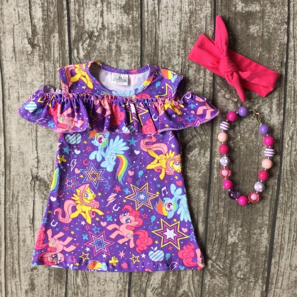 baby girls clothes kids wear summer purple unicorn print