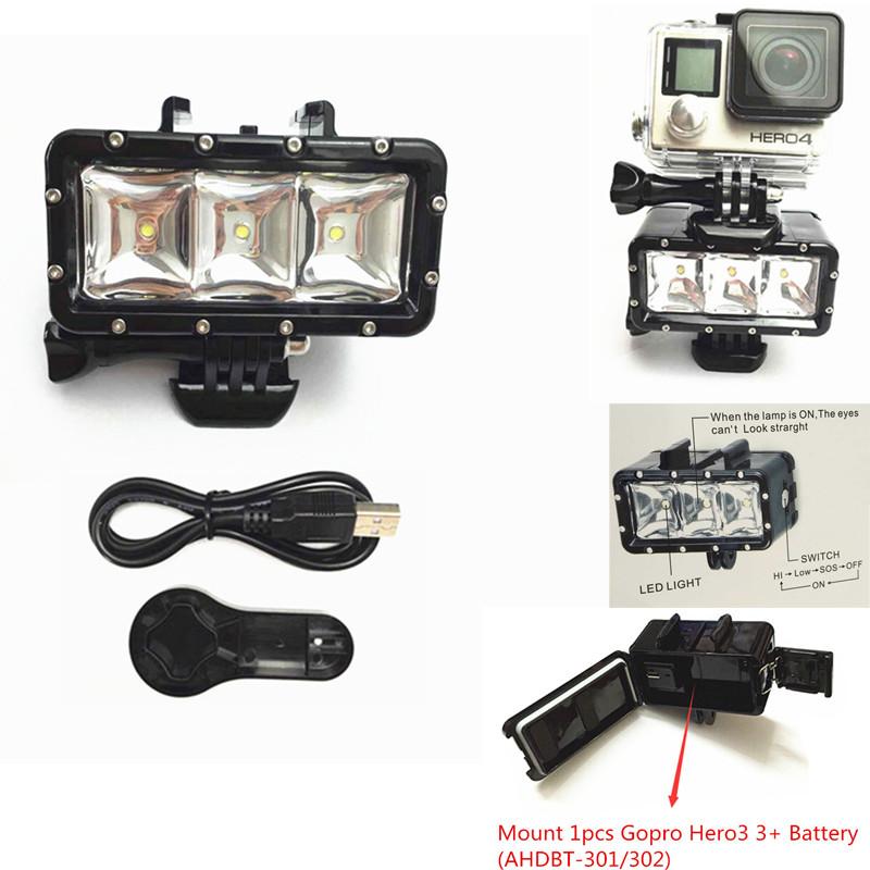 Prix pour GoPro Accessoires LED Flash Lumière Remplir Tir Nuit De Montage Étanche LED Lumière Pour Gopro Hero3 + 3 AHDBT-301/302 Batterie