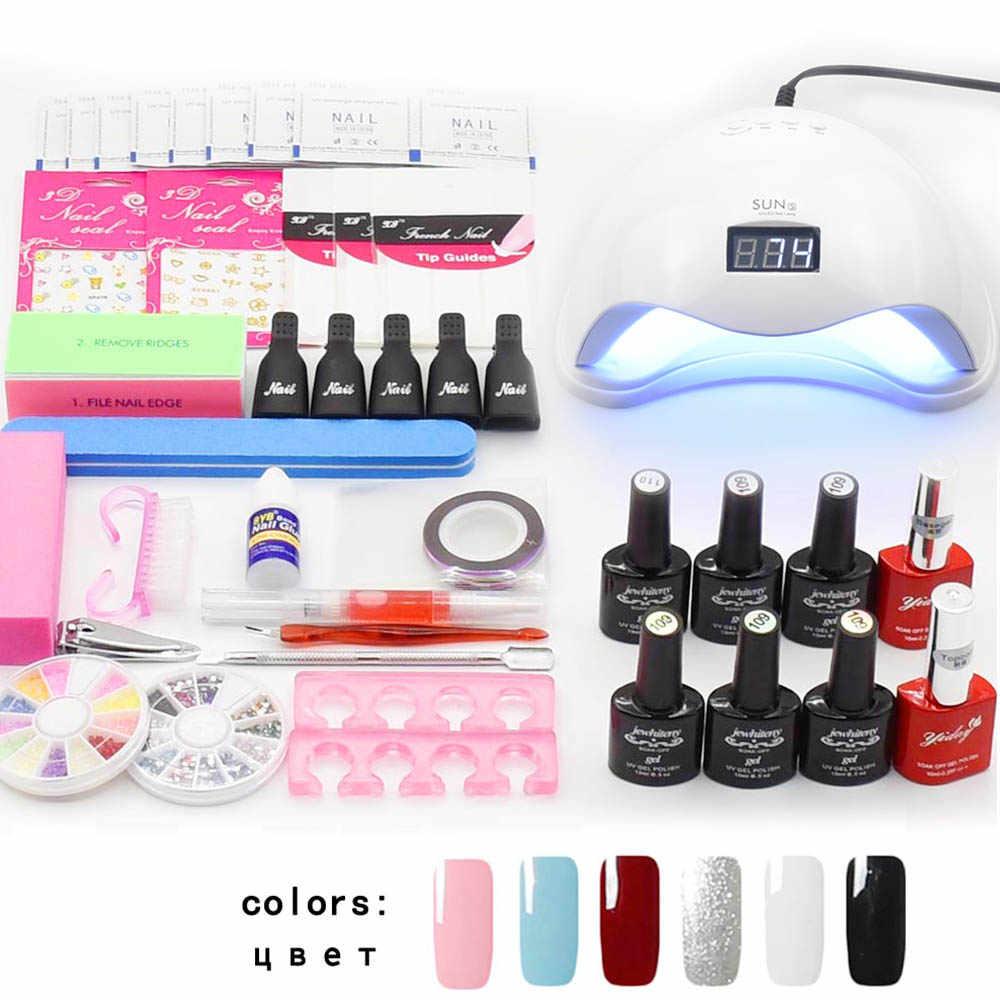 Jewhiteny נייל אמנות סט UV LED מנורת מייבש & 6 צבע ג 'ל לק סט ערכת כלים ציפורניים ג' ל לכה לכה מניקור ערכת כלים