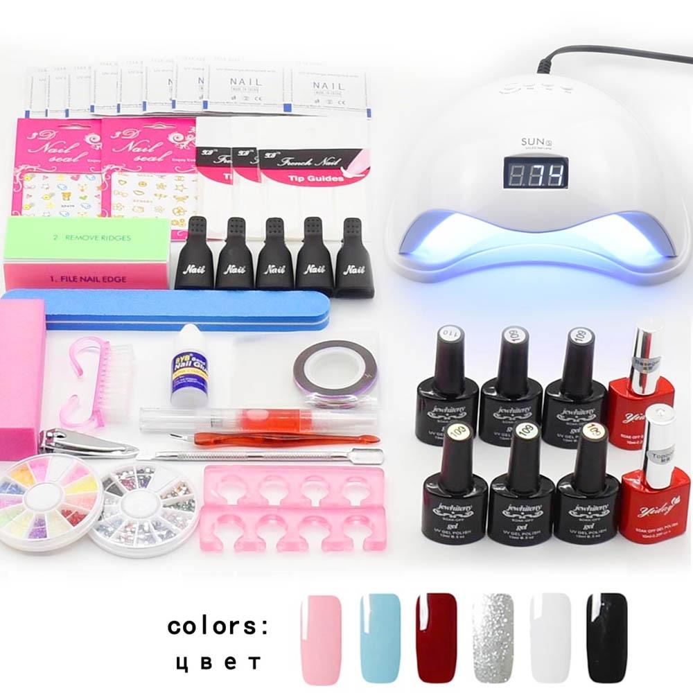 Jewhiteny conjunto del arte del clavo UV lámpara LED secador y 6 Color Gel esmalte de uñas conjunto kit Gel barniz laca manicura herramientas kit