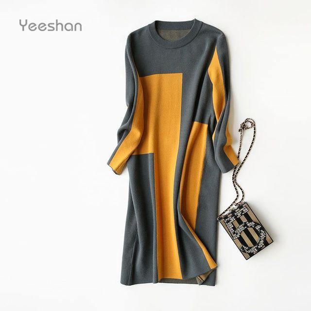 Yeeshan Vesttidos Cashmere Malha Vestido Outono Mulheres de Mangas Compridas Mulheres Vestidos Geométricos Elegantes O-pescoço Vestido Longo Marca 2016