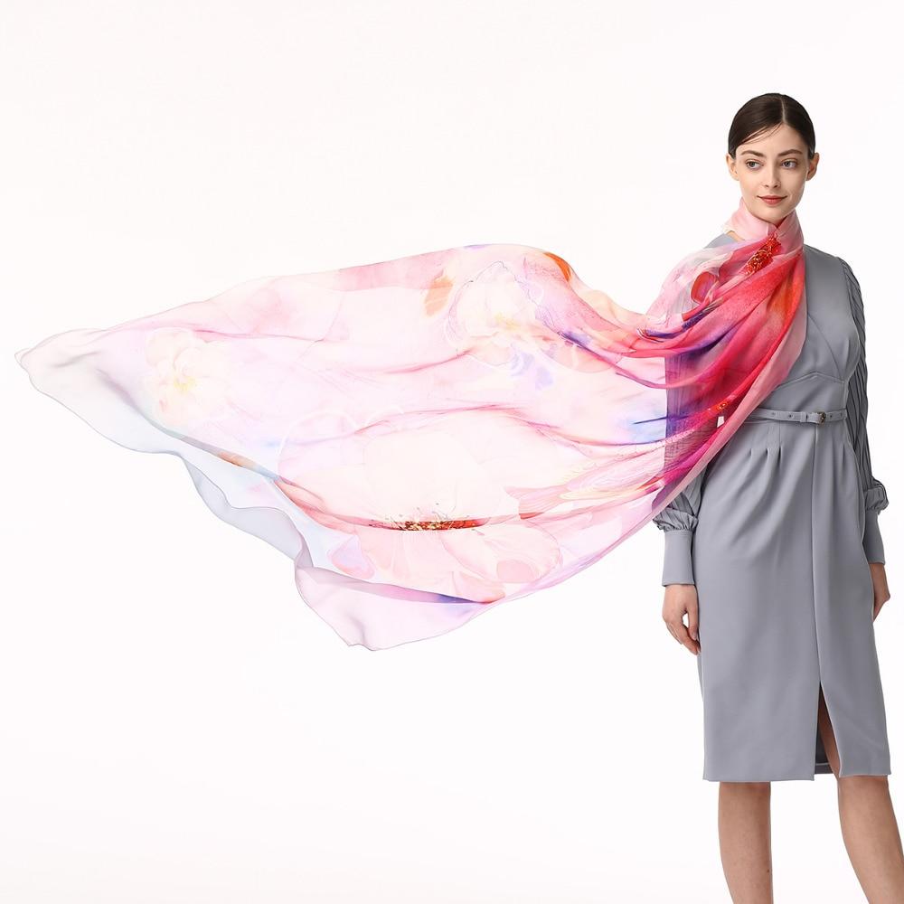 100 Silk chiffon Scarf Women Fashionable Long Silk scarves Luxury Lady Beach Cover Anti SUV Infinity