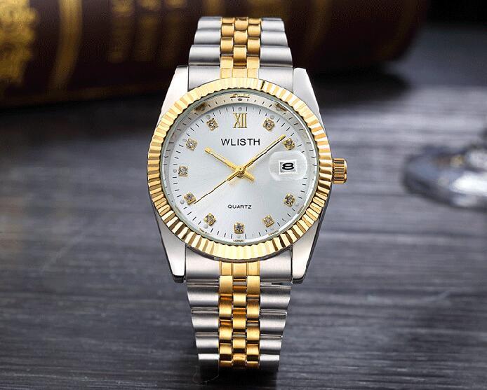 WLISTH роскошные золотые часы для женщин и мужчин, для влюбленных, нержавеющая сталь, Кварцевые водонепроницаемые мужские наручные часы для мужчин, аналог Авто Дата clcok - Цвет: Gold White For Man