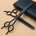 Sharonds 7 дюймов черные волосы ножницы установить профессиональный похудения ножницы, красоты парикмахерские ножницы, сделанные из SUS440c