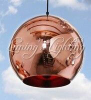 2017 light E27 LED Bulb Copper Shade Mirror Chandelier Ceiling Light Pendant Lamp Bulb Modern Christmas Glass Ball Lighting
