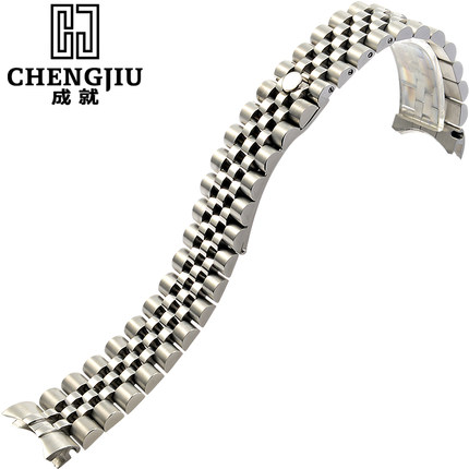 Mens' Curved Interface Steel Watch Strap For Rolex For Datejust Silver Watches Band Butterfly Buckle Bracelet Belt Maculino 20mm
