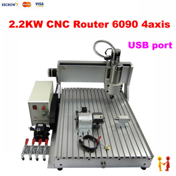 USB port cnc carving woodworking machine 6090 2200W with 4 axis milling cutting drilling engraving cnc router for metal wood купить