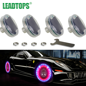4pcs LED Car Tuning Gas Nozzle Cap Light rims Wheel Valve Stem Cap Tire Motion For Led Flash Tyre Valves Lamp 13 Flash Color AG