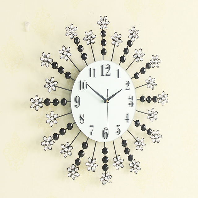 Creative Large Beautiful Diamond Flower Wall Clocks Living Room Wall Clock  Unique Gift Home Decor