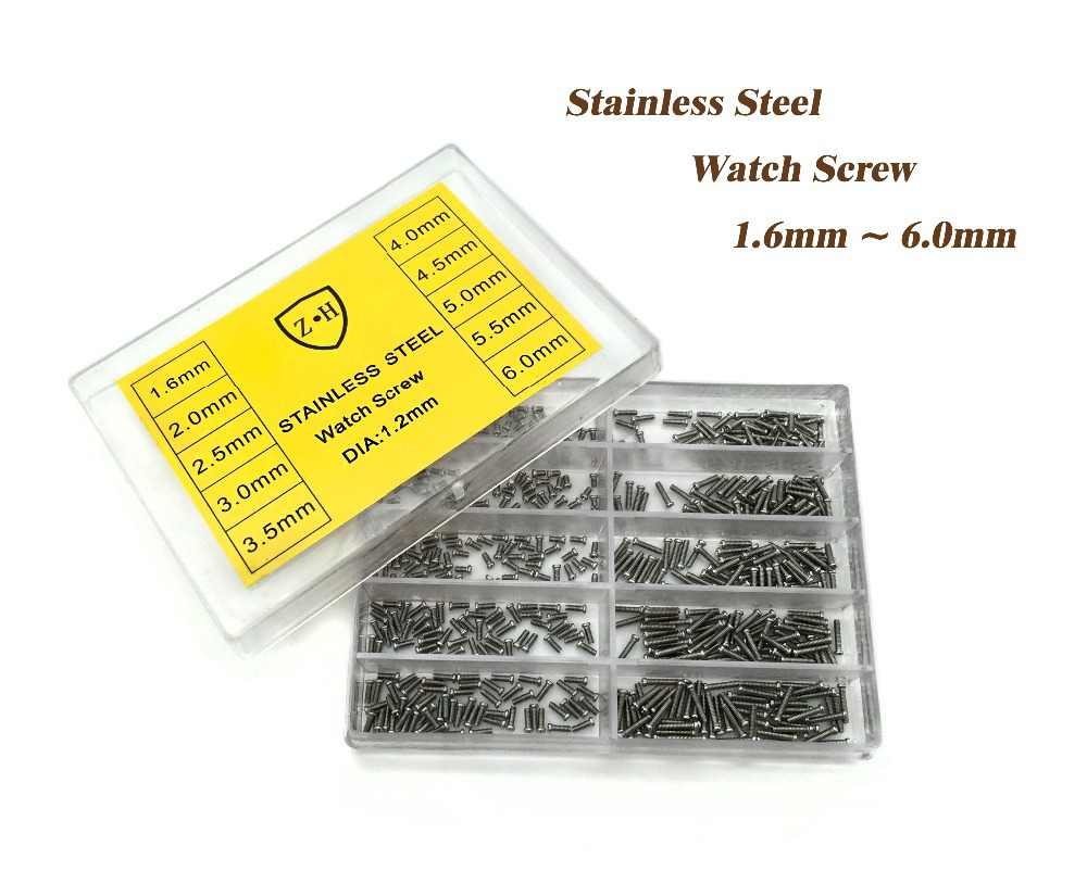 Diameter 1.2mm Stainless Steel Assorted Screws Watch Tools For Repairs Watch 10 Sizes Watch Repair Tool Kit