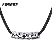 Good Quality Men S Black Leather Short Choker Necklaces Stainless Steel Silver Clouds Necklaces For Men