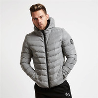 2018 winter sweatshirt men ultra thin light Hooded down Hoodies collar solid jacket for male Outerwear coats M XXL