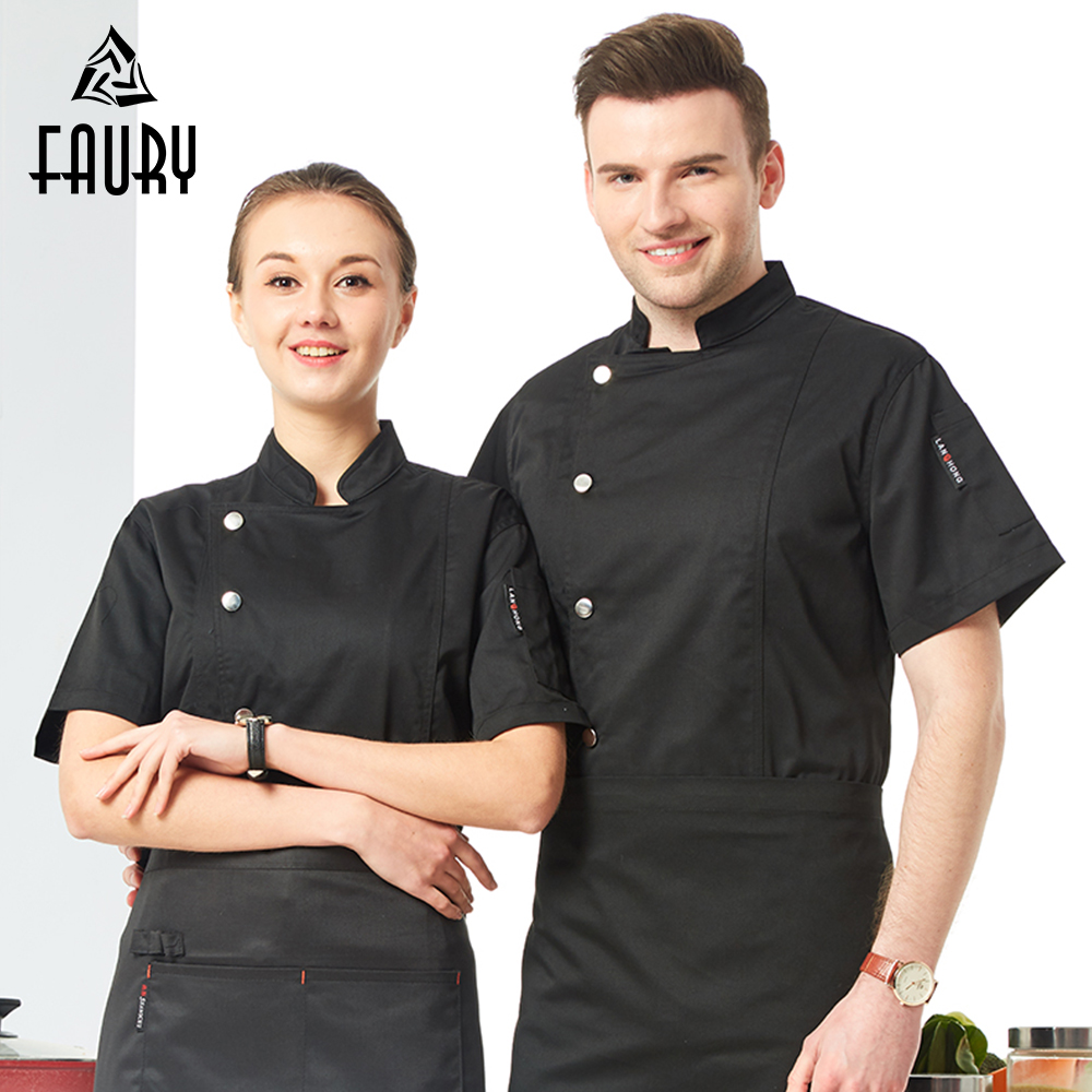 2018 New Arrivals Summer Short Sleeve Chef Jacket Women Men High Quality Hotel Work Uniforms Cook Clothing Bakery Kitchen Wear