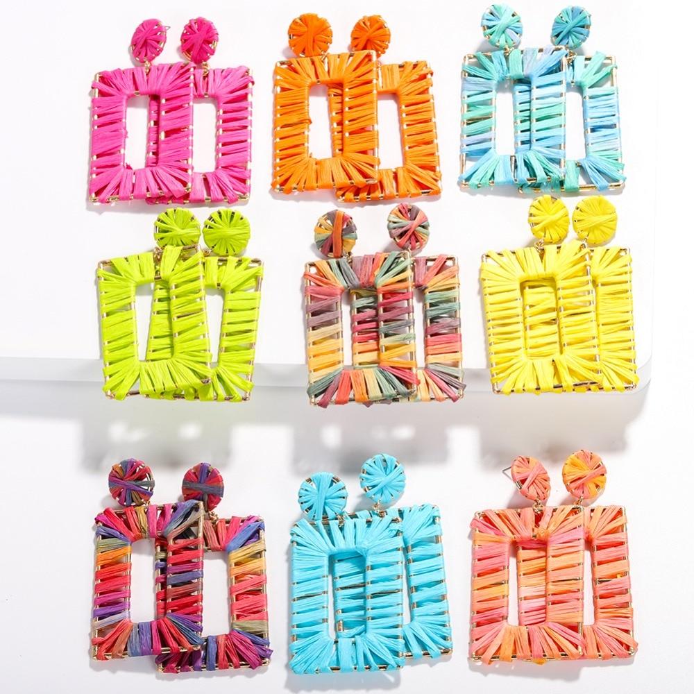 Best lady Boho Handmade Raffia Square Pendant Dangle Earrings for Women Girls 11 Colors Ethnic BA Wedding Drop Earrings Party in Drop Earrings from Jewelry Accessories