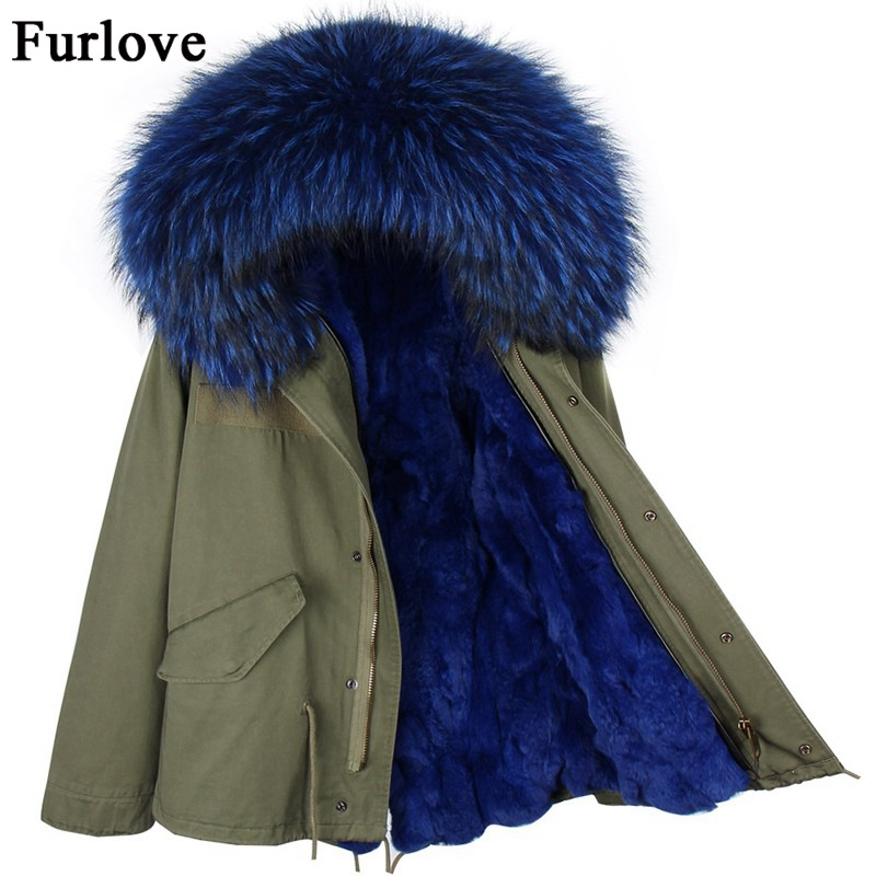 Women Jackets Thick Warm Parkas Big Size Raccoon Fur Collar Hooded Parka Real Rabbit Fur Coat Casual Woman Winter Jacket 2017 faux rabbit fur brown mr short jacket sleeveless with big raccoon collar fall coat