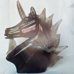 Image 5 - טבעי אבן אגת גילוף unicorn קריסטל גולגולת גבישי geode אשכול creative גילוף עיצוב הבית אצילי וטהור