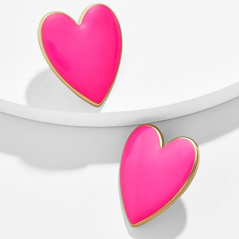 2020 Street Style Black White Pink Yellow Heart Stud Earrings For Women Minimalist Korean Fashion Love Heart Enamel Earring(China)