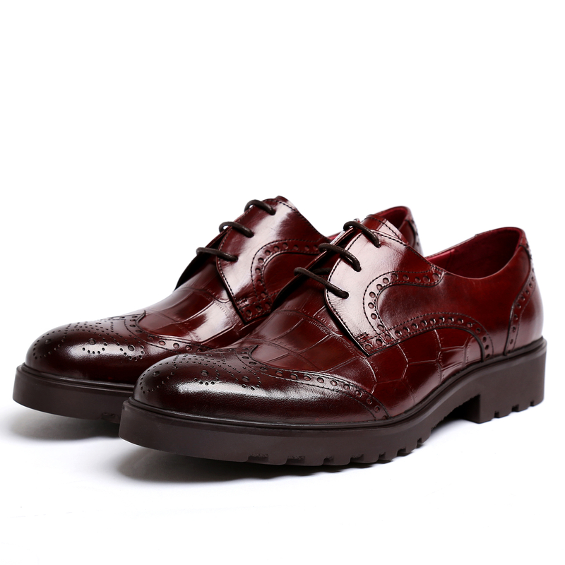 PJCMG New Men's Genuine Crocodile Pattern Leather Pointed Toe Thick soles Lace-Up Cowhide Dress Wedding Flat Oxford Men Shoes 9