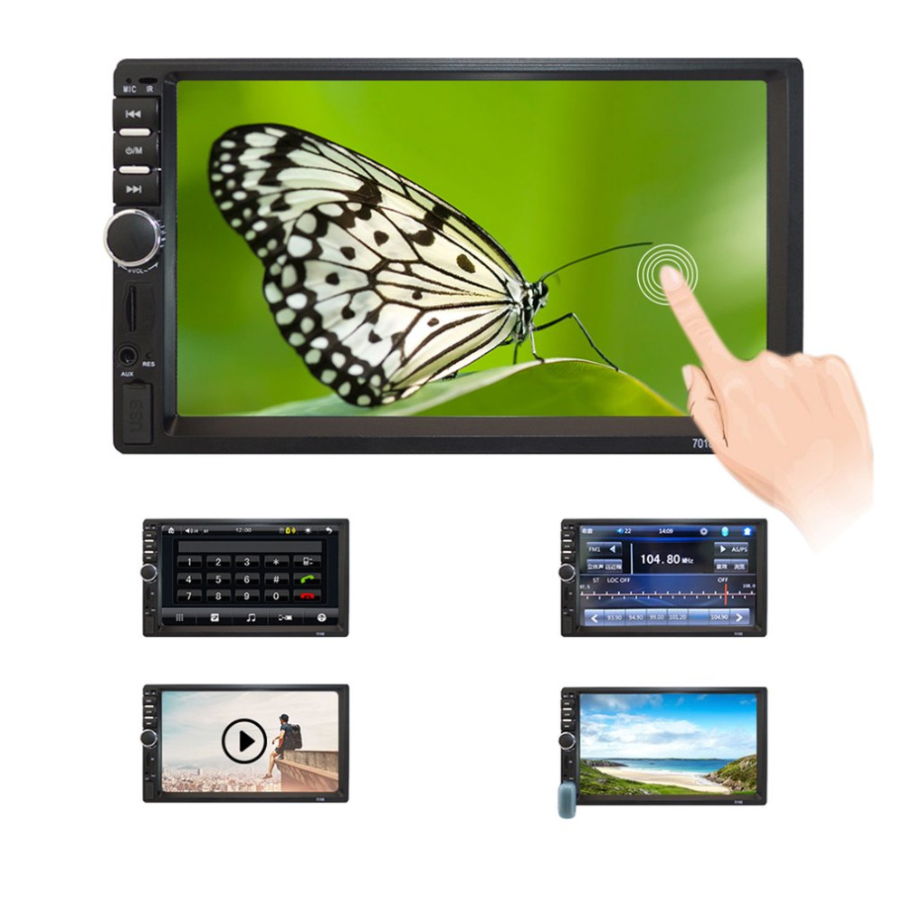 Car Monitors 7-inch HD MP5 Touch Screen Bluetooth In Dash DVD 12V 2 Din Car Stereo Radio FM AUX USB MP3 MP5 Player Support TF new 7018b 7 inch lcd hd double din car in dash touch screen bluetooth car stereo fm mp3 mp5 radio player 12v 1 4 cmos camera