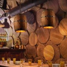Американский кантри loft подвесные светильники промышленные старинные деревянные баррель ретро led подвесной светильник для бара магазин кафе столовая декор