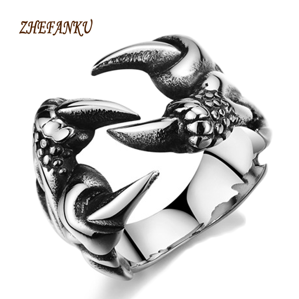 2017 New Stainless Steel Dragon Claw Rings Rock Punk Male Biker Rings For Men Vintage Gothic Jewelry Drop Shipping