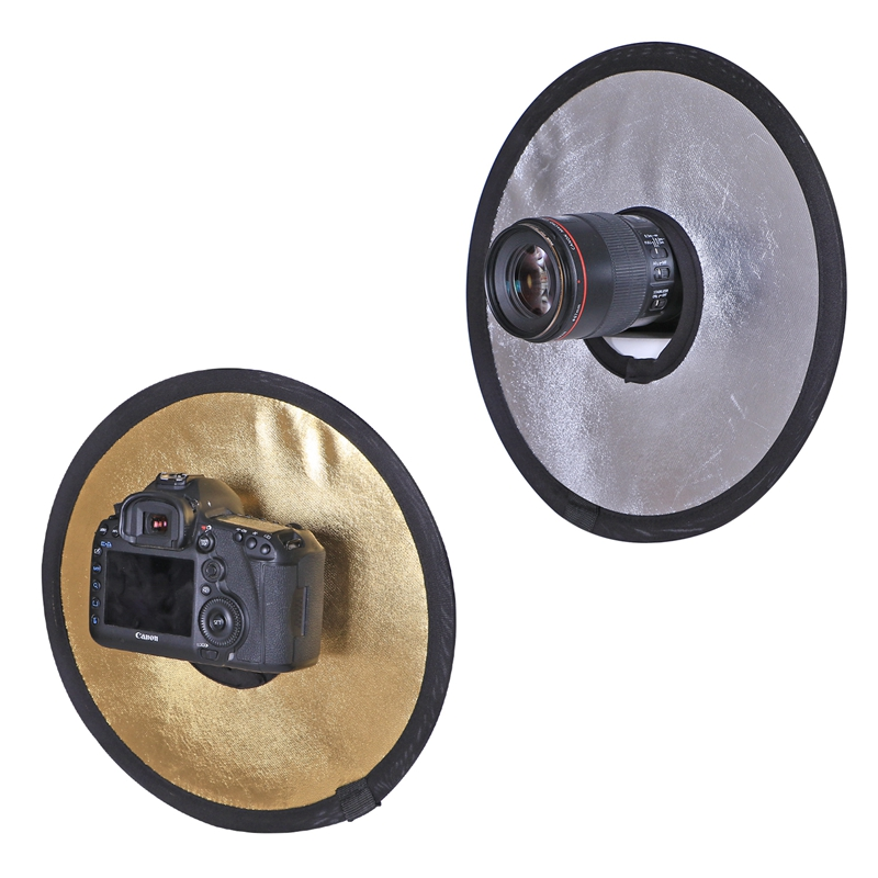 CY 11.8 '30cm 2 in 1 Golden & Silver Collapsible Light Round Photography Reflector Hollow untuk Studio Foto Foto Kamera Accessories