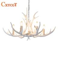 4/6/8/9/10 Head Candle White Antler Chandelier Lighitng Living Room Bedroom retro Resin Deer Horn Pendant Lamp Home Decoration