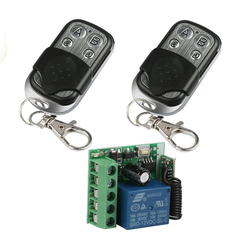 2pcs Remote Control Switch 433Mhz Universal Wireless DC 12V 4CH Relay Receiver Module and RF Transmitter Learning Code Button 433mhz wireless remote control switch dc12v 4ch superheterodyne relay receiver module with rf transmitter 433 mhz remote control