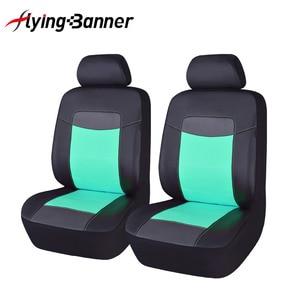 Image 5 - 6 Kleurrijke Pu Leer Voor Autostoel Cover Fit Voor Universele Autostoel Auto Accessoires Auto Kussenhoes Zwart Grijs blauw