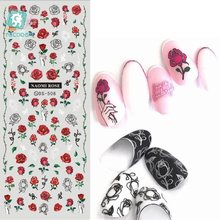 лучшая цена DS493-513 New Classical Vintage Rose Flowers Flicka Dots Nails Art Sticker Harajuku Nail Wrap Sticker Foil Manicura stickers