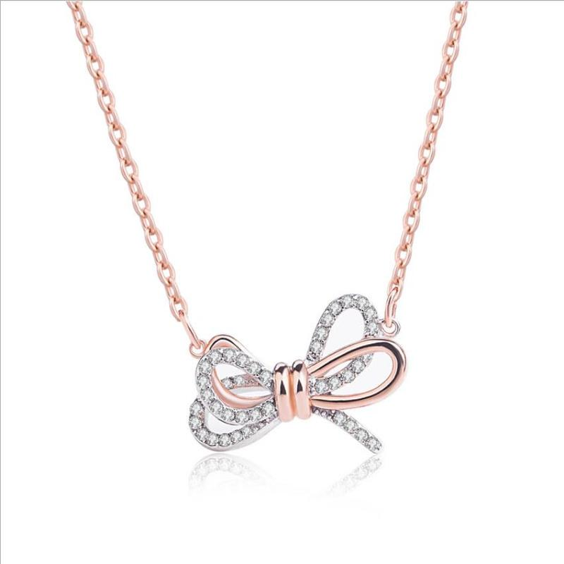 Everoyal Luxury Austrian Rhinestones Female Bowknot Necklace For Girls Jewelry Fashion Lady Rose Gold Clavicle Necklace Bijou in Pendant Necklaces from Jewelry Accessories
